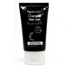 отшелушивающая маска с углем для носа farmstay charcoal black head peel off nose pack