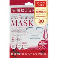 Japan Gals Pure 5 Essential - Питательные маски для лица с натуральными керамидами, 30 шт.