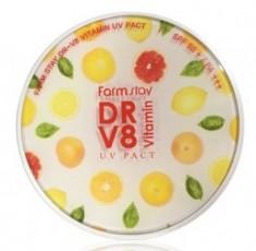 Пудра компактная с витаминами FARMSTAY DR-V8 vitamin UV pact SPF 50 12г*2шт