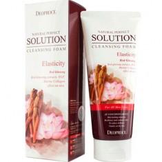 Пенка для умывания эластичность кожи с экстрактом женьшеня и лотоса Natural Perfect Solution Cleansing Foam Energy DEOPROCE