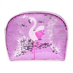 Косметичка LADY PINK вместительная в пайетках flamingo