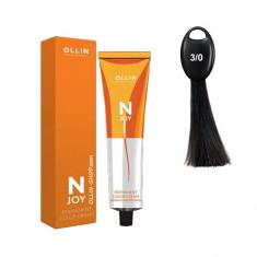 Ollin N-JOY 3/0 темный шатен перманентная крем-краска для волос 100мл OLLIN PROFESSIONAL