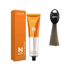 Ollin N-JOY 8/71 светло-русый коричнево-пепельный перманентная крем-краска для волос 100мл OLLIN PROFESSIONAL