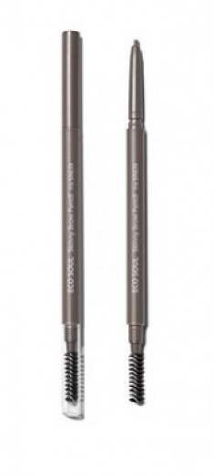 Карандаш для бровей Eco Soul Skinny Brow Pencil 02 Gray Brown The Saem