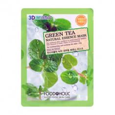 Тканевая 3D маска с экстрактом зеленого чая успокаивающая FoodaHolic Green Tea Natural Essence Mask 23 мл